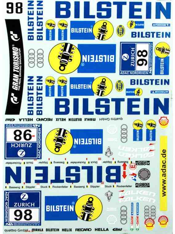 Bilstein audi r8 98 decals sticker for rc 1 10 cars decals stickers bodies the border online rc shop