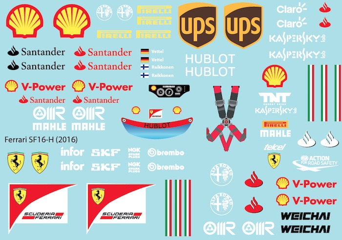 Fer Sf16 H 2016 F1 Decal Sheet For 1 10 Brpd1328