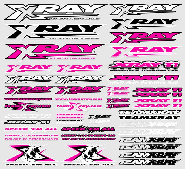Xray decals for body neon red x397314