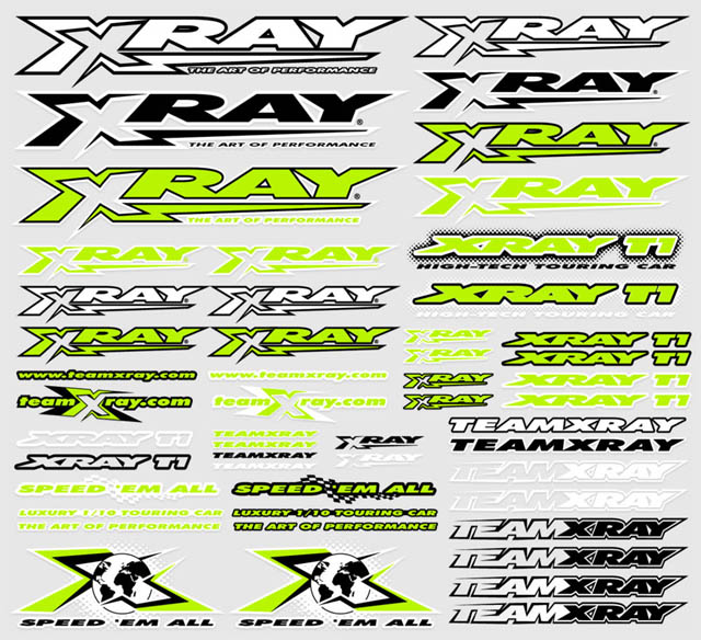 Xray decals for body neon yellow x397315