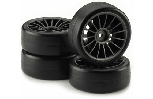 BRP Wheel /Tires Set 15-Spoke Slick Black Glued