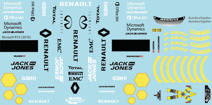 R Sponsor Decal Sheet RS16 (Yellow) (2016) for 1/10 BRPD1308-1