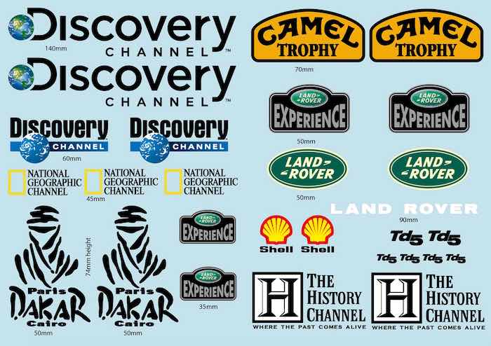 Nat. Geo & Discovery LandRov. Decals for TRX-4 & other 1/10 bodies BRPD1539