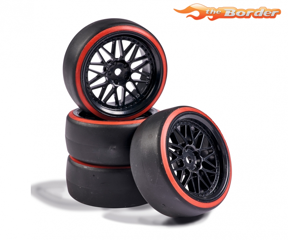 Carson Drift Tyre Set with Y-Spoke Design Black/Red (4) - 1/10 Tyres 500900157