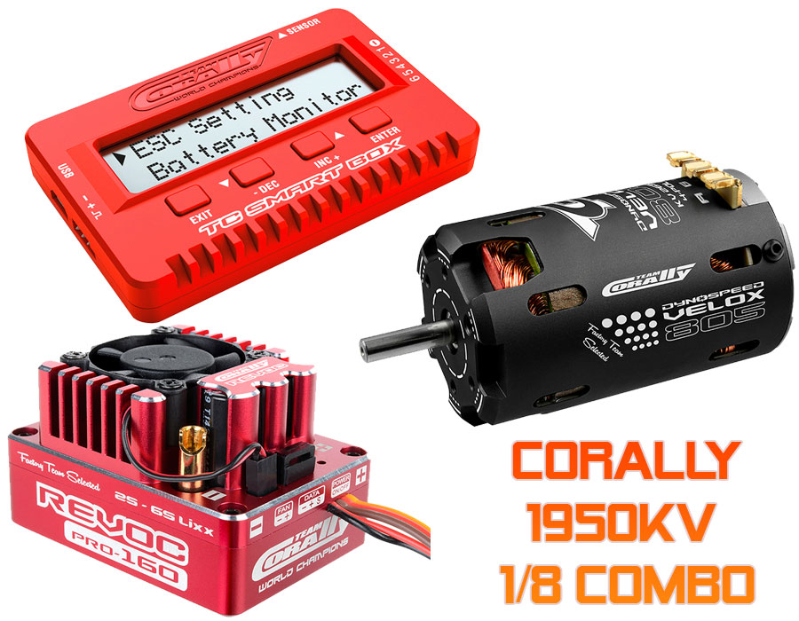 Corally 1/8 160A ESC & 1950KV Motor Combo with Program Box