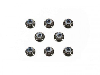Tamiya 4mm Flange Lock Nut - Black / 8pcs 54642