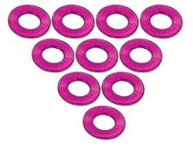 3Racing Aluminium M3 Flat Washer 0.5mm (10 Pcs) - Pink 3RAC-WF305/PK