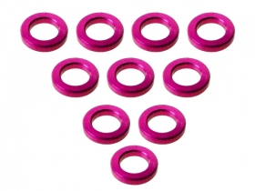 3Racing Aluminium M3 Flat Washer M3 x 5 x 1mm (10 Pcs) - Pink 3RAC-WF310/5/PK