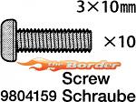 Tamiya 3 x 10 mm Screw 10pcs. 9804159