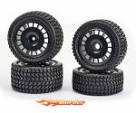Carson All Terrain 2WD Wheel Set Black - Preglued 500900134