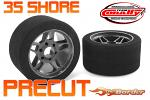 Corally Foam Tires 1/8 Precut 65mm - 35 Shore - Front - Carbon Flex Rims (2) C-14713-35