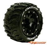 Louise RC MT-Cyclone MFT Stampede/Rustler Front Tire Soft - 0 Offset Beadlock - Black LR-T3310SBH
