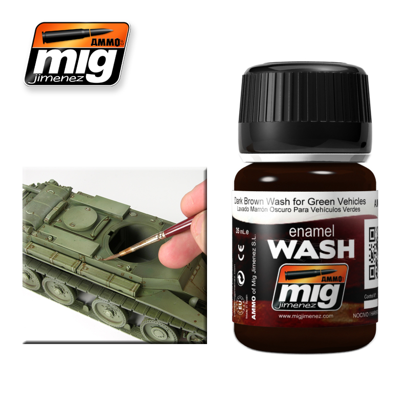 MIG Ammo Dark Brown Wash For Green Vehicles AMIG1005