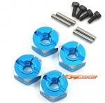 YEAH RACING Alum. Wheel Adapter Set thick 6.0mm (BU) for All 1/10 WA-033BU