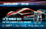 XRAY T4 2021 Specs 1/10 Combo Touring Car - Graphite Edition + 301006 Alum Flex Chassis