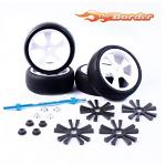 Yeah Racing Aluminum Stylish Spinning Rims (4pcs) BK 5V-Spoke Tire Set WLS-0002BKS