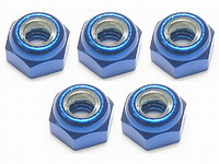 3Racing 4mm Aluminium Lock Nuts (Blue) - 5 PCS 3RAC-N40/B