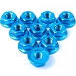 YEAH RACING 4mm Aluminium Serrated Lock Nut 10pcs. Blue