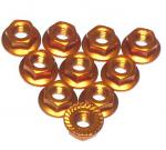 YEAH RACING 4mm Aluminium Serrated Lock Nut 10pcs. Orange LN-M4S-OR