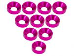 3 Racing Aluminium M3 Countersink Washer 10 Pcs - Pink 3RAC-WC3/PK